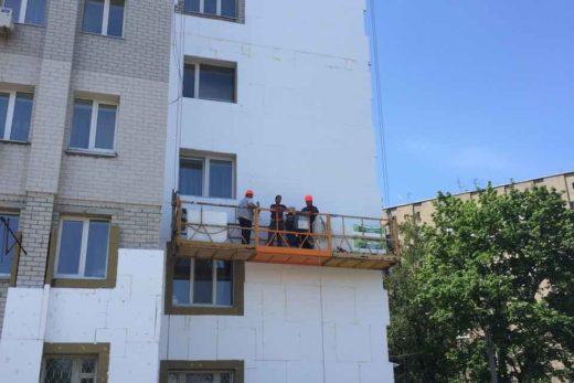 Монтаж системы утепления для ограждающих конструкций площадью 3000 м2 на объекте, расположенном по адресу: пр. Московский, 128, г. Харьков.